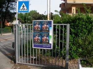 La locandina della StarCon sul cancello dell'ingresso del Palacongressi.