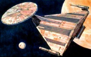 La U.S.S. Enterprise ridisegnata da Ralph McQuarrie per Star Trek: Planet of the Titans, il primo tentativo di portare la Serie Classica al cinema, negli anni settanta.